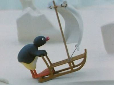 Pingu Surfing on the Ice