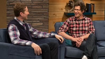 Andy Samberg Wears a Plaid Shirt & Glasses