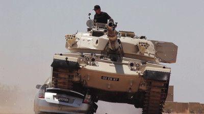 Tank Smashes Prius!