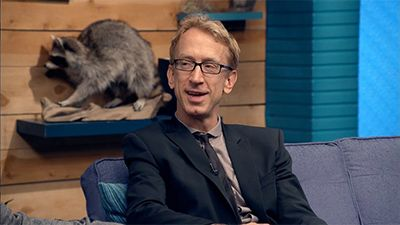 Andy Dick Wears a Black Suit Jacket & Skinny Tie