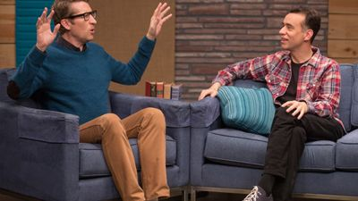 Fred Armisen Wears Black Jeans & Glasses